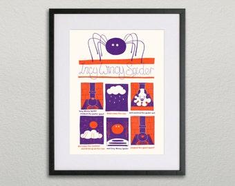 Nursery Rhyme Screen Print - Incy Wincy Spider