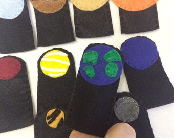 Space finger puppets - planets - solar system