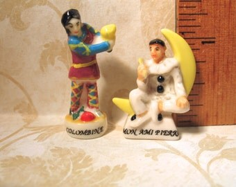Tiny Pierrot & Colombine Clowns Commedia dell'arte - French Feve Feves Porcelain  Miniatures AA33
