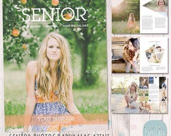 Senior Photography Magazine - 24 Page Photoshop Template - PG005 - INSTANT DOWNLOAD