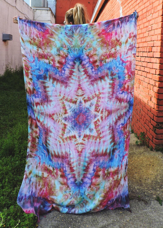 blue brown yellow tie dye psychedelic mandala festival fringe. Black Bedroom Furniture Sets. Home Design Ideas