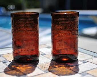 Set of Two (2) Upcycled IBC Root Beer Drinking Glasses