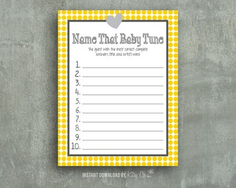 Baby Tune Game | Baby Shower Printable | Yellow | Instant Download Digital File