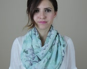 Infinity Woman's Scarves, Lucite Green Scarf, Floral, Cute Scarves, Handmade Fashion Accessories, Chiffon Scarves