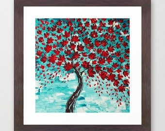 Framed Art Print, Cherry Blossom Tree Painting, Gifts, Abstract Giclee  Print, Red Part 42