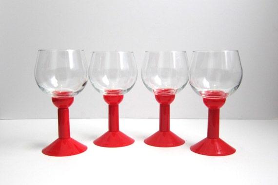 Vintage Mid Century Mod Wine Glasses With Red Plastic Stem