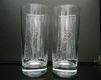 Etched Drinking Glasses~ Romantic & Sweet Gift~ Monogrammed~ Personalized