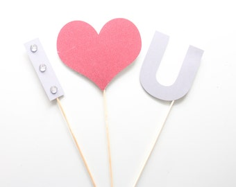 3Pc * I Heart You Sign/Wedding Photo Booth Props/Photobooth Props