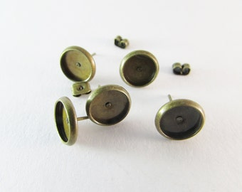 Ear stud base antique bronze 8mm tray