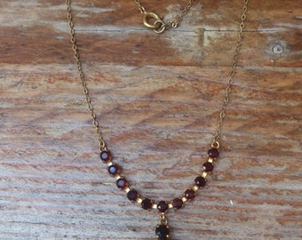 Vintage deep red rhinestone necklace