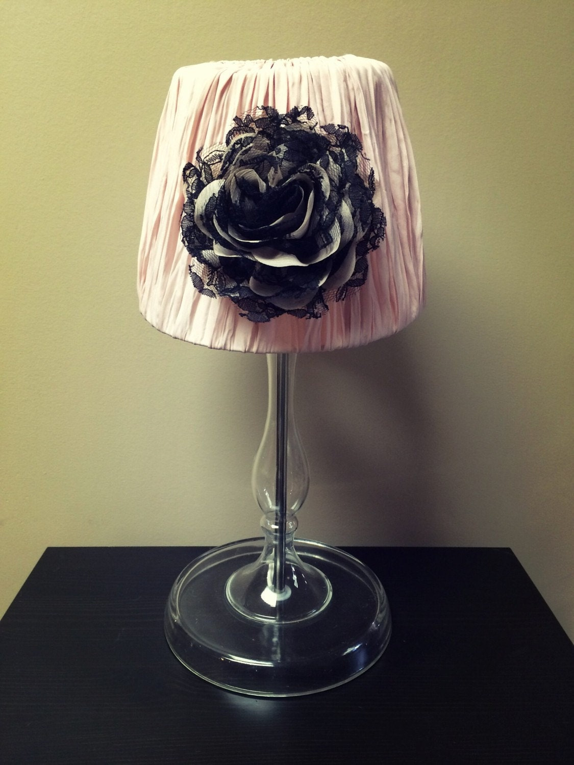 Flower Light Pink Glass Lamp Vintage Glass Base