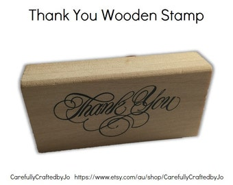 Thank You Stamp - Script Font Wooden Rubber Thank You Stamp
