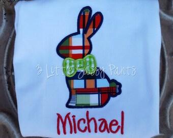 Boy Easter Bunny Shirt- Easter Shirt- Applique- Custom Easter Shirt-Boy Easter Embroidered Shirt- Bunny- Bowtie