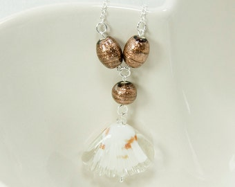 Glass Seashell pendant on sterling silver chain