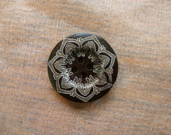 Lace effect dark brown wooden button.  25mm Set of 6