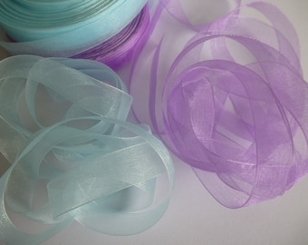 5 metres of pale blue or lavender organza ribbon. 16mm wide