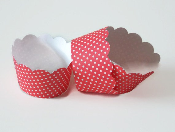 Red Polka Dot Cupcake Wrapper, Birthday Cupcake Wrappers, Party Cupcake Sleeve, Cupcake Holders