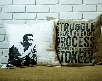 Stokely Carmichael  Pillow, WHITE, GRAY, & BEIGE , 20 x 20, double-sided