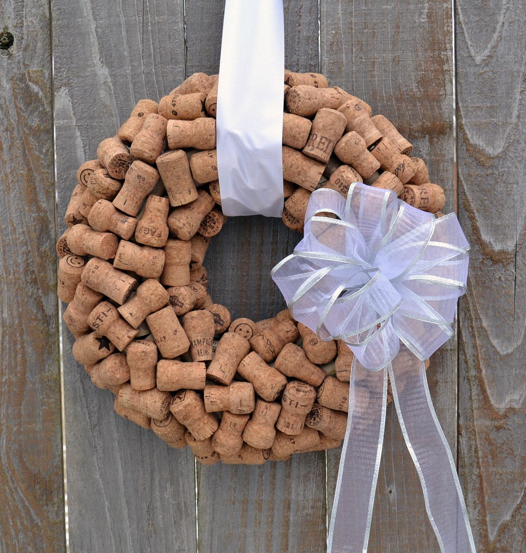 Wine Cork Wedding Decorations: Champagne Cork Wreath // Wedding Decor Ideas // White Silver