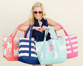 Monogrammed Tote Bridesmaid gift Personalized Tote, gift Beach pool tote  Teal Reef OR Navy Stripe