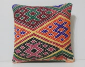 kilim pillow orange pillow cover 16x16 DECOLIC pink decorative pillow sham designer pillow green boho chic pillow 15747 kilim pillow 40x40