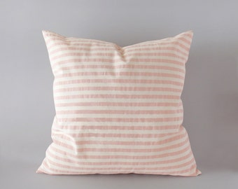 Striped light pink pillow cover in 16x16 inches - 18x18 inches - 20x20 inches - 22x22 inches and more sizes - pink lumbar cushion cover