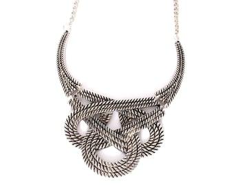 Silver statement necklace, golden bib necklace