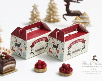TWO Dollhouse Miniature Christmas Pastry Handle Boxes