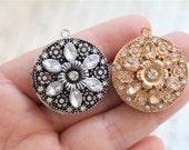 1Pcs Rhinestone Set  Round Metal  Locket Pendant Antique Vintage Jewelry Supplies  Style