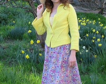 Hand Knitted Cardigan, Sunny Cardigan, Yellow Jacket, Merino Wool  Cashmere Womens Sweater. Made for order.