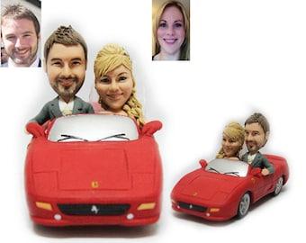 Personalised wedding cake topper - Ferrari themed topper  (Free shipping)