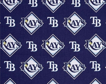 Tampa Bay Rays 6656B Navy MLB Logo Cotton Fabric by Fabric Traditions! [Choose Your Cut Size]
