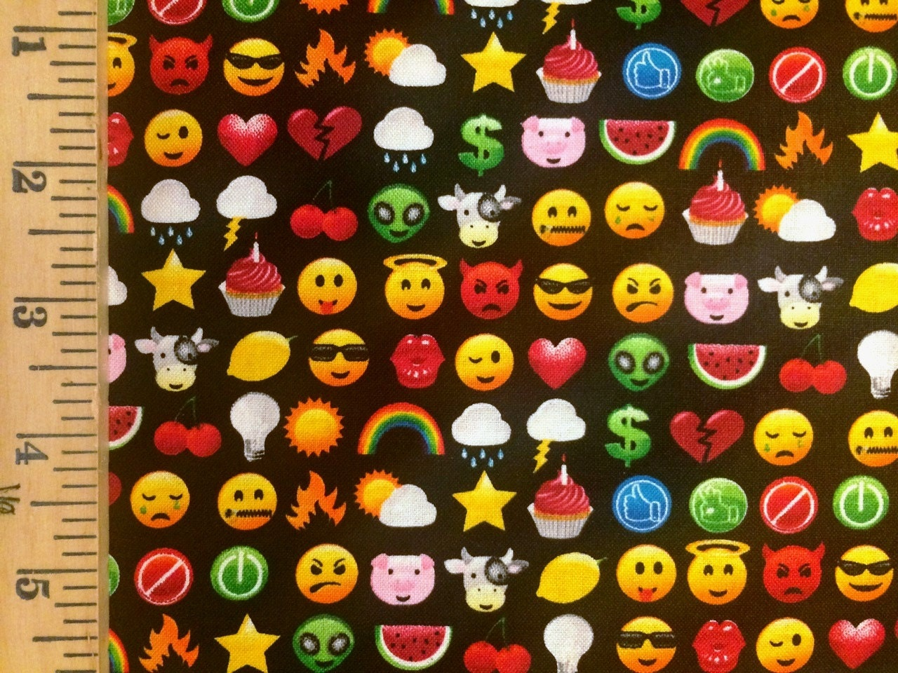 Emoji cotton fabric by timeless treasures sold by for Emoji material by the yard