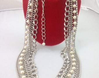 Shipping Multi-Chained Rhinestone/Pearl Belt