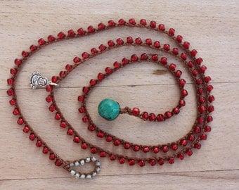 Beachy Crochet Necklace/4 Wrap Bracelet , Burgundy  Bohemian Jewelry