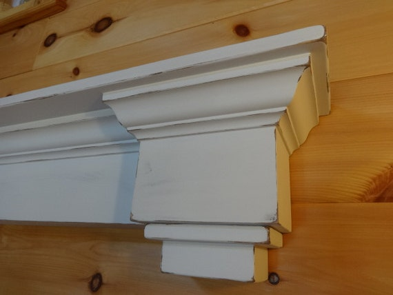 Items Similar To Distressed White Mantel Shelf With Tall Tiered Corbels Fireplace Mantel On Etsy