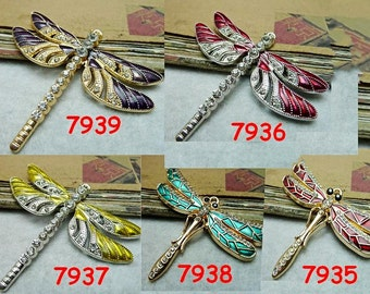 2  45x66mm Dragonflies Enamel Charms Pendants AC7935