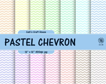 Pastel Chevron Digital Papers - White chevron background pattern - 14 soft pastel backgrounds - Commercial Use - Instant Download
