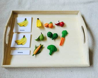 Montessori Common Fruits and Vegetables 3 Parts Cards