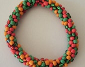 Christmas in July! Fiesta Colors in 6 1/2 Inch Crocheted Beaded Bracelet Hope's Variety Shop
