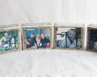 Photo Blocks, Personalized Photo Blocks, Wood Blocks, Photograph Block, Wood Sign, Wedding Photo Blocks 1 - 6 blocks