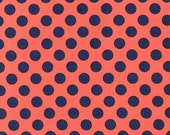 "Coral and Navy Blue Dot Fabric ""Ta Dot"" from Michael Miller - 100% cotton. PC1492-POPP-D"