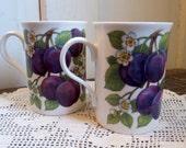 Purple Plum Coffee Mugs Vintage Pair Crown Regal Made in England Purple Green White Farmhouse Decor
