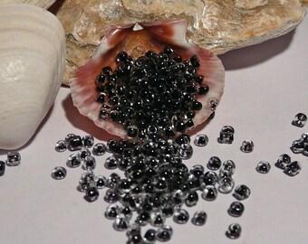 1000 Glass Seed Beads Black