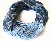 Infinity Scarf /The combination of jersey fabric and crochet..