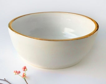 22k Gold Rimmed White Serving Bowl - Modern Pottery, Modern Tableware, Holiday Gift, White and Gold, Mother's Day, Tableware, Wedding Decor