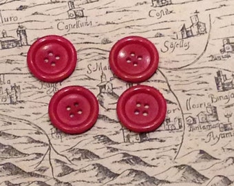Vintage red buttons - Set of 4