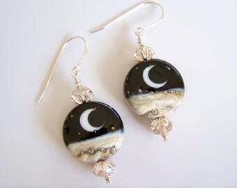 Moon on Black Artisan Lampwork and Silver Beaded Earrings - Item E1852
