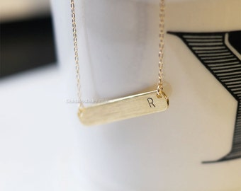 personalized initial bar necklace in gold, initial bar necklace.  name bar necklace, dainty, simple, birthday, wedding, bridesmaid jewelry