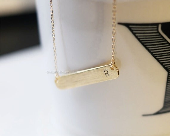 personalized initial bar necklace in gold initial bar